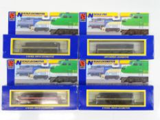 A group of N Gauge American Outline diesel locomotives by LIFE-LIKE in Missouri Pacific and Rock