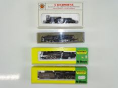 A group of N Gauge American Outline steam locomotives by BACHMANN and MINITRIX all in Santa Fe