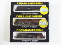 A group of British Outline N Gauge steam locomotives by GRAHAM FARISH to include a Class 8F - 2 in