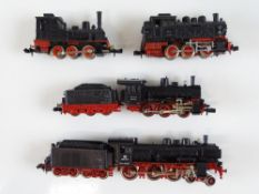 A group of unboxed German Outline N Gauge steam locomotives by ARNOLD, FLEISCHMANN and MINITRIX -