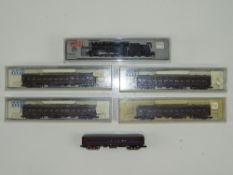 A group of N Gauge Japanese Outline items by KATO to include a steam locomotive and 5 vintage