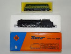 A pair of N Gauge ROCO French and Belgian Outline locomotives to include an SNCF steam locomotive (