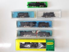 A group of N Gauge American Outline steam locomotives by MINITRIX, ATLAS, RIVAROSSI and LIFE-