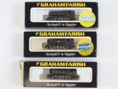 A group of N Gauge Pannier tank locomotives by GRAHAM FARISH in BR and GWR liveries - G in G