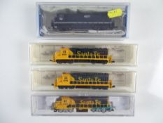 A group of American Outline N Gauge diesel locomotives by BACHMANN, MODEL POWER and LIFE-LIKE - G/VG