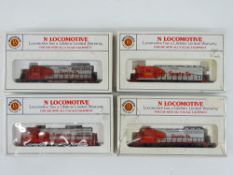A group of N Gauge American Outline diesel locomotives by BACHMANN all in Santa Fe livery - G in F/G