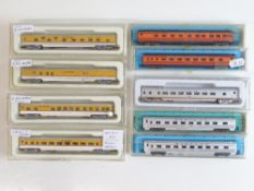 A quantity of American Outline N Gauge passenger coaches by CON-COR and ATLAS - G in G boxes (9)