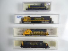 A group of American Outline N Gauge diesel locomotives by KATO, MODEL POWER and LIFE-LIKE all in