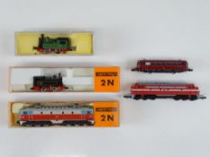 A mixed group of N Gauge European Outline locos to include: 2 steam and 1 electric loco by