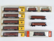 A group of Spanish Outline N Gauge vintage passenger coaches by IBERTREN and LIMA - G/VG in G