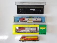 A quantity of N Gauge American Outline diesel locomotives by BACHMANN, RIVAROSSI, MINITRIX etc. -