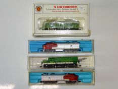 A group of N Gauge American Outline diesel locomotives by BACHMANN, RIVAROSSI and LIFE-LIKE - F/G in