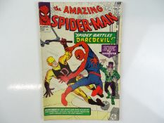 AMAZING SPIDER-MAN #16 - (1964 - MARVEL - UK Price Variant) - Daredevil's first crossover (wearing