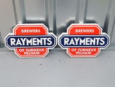 """Pair of enamel RAYMENTS (13"""" x 9"""" each) - enamel single sided flanged advertising sign"""