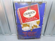 "CRAVEN 'A' Virginia Cigarettes (24"" x 36"") - 'Made Specially to Prevent Sore Throats' enamel"