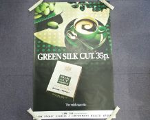 BENSON AND HEDGES: 'GREEN SILK CUT. 35p - Silk Cut Number 5' (101cm x 152cm)