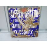 """ALFRED SEATON (15"""" x 16"""") Carting Contractor Aylesbury - enamel single sided advertising sign"""