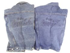 COCA-COLA: A pair of Denim Jackets with the Coca-Cola logo embroidered on the back - 1 x s and 1 x m