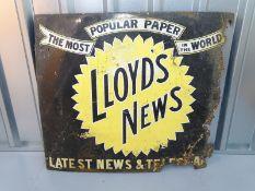 "LLOYD'S NEWS (36"" x 30"") - enamel single sided advertising sign"