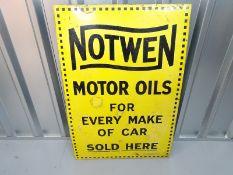 "NOTWEN MOTOR OILS (24"" x 36"") - enamel single sided advertising sign"
