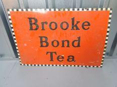 "BROOKE BOND TEA (30"" x 20"") - enamel single sided advertising sign (landscape format)"