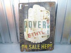 "POWER ETHYL (30"" x 42"") - enamel single sided advertising sign"