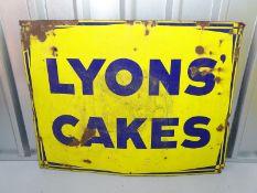 """LYONS CAKES (39"""" x 30"""")- enamel single sided advertising sign"""