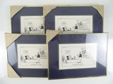 MCDONALDS: Four MACEY framed and glazed cartoons 'I'll have a McDonald's Restaurant - to go'