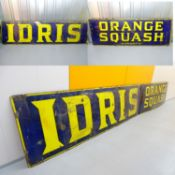 "IDRIS ORANGE SQUASH (84"" x 23"" and 66"" x 23"") - enamel single sided advertising sign - two"