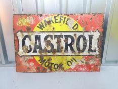 "CASTROL WAKEFIELD MOTOR OIL (30"" x 20"") - enamel single sided advertising sign"