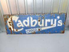 "CADBURY'S CHOCOLATE (48"" x 20"")- blue enamel single sided advertising sign"