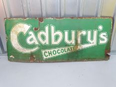 "CADBURY'S CHOCOLATE (48"" x 20"") - green enamel single sided advertising sign"