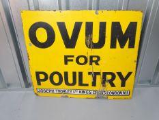 """JOSEPH THORLEY LTD 'Ovum for Poultry' (32"""" x 27"""") enamel single sided advertising sign"""