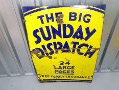 "SUNDAY DISPATCH (30"" x 40"")- enamel single sided advertising sign"