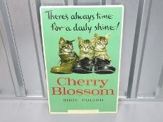 "CHERRY BLOSSOM (17.5"" x 28"") Chiswick Products tin advertising sign for Cherry Blossom Shoe Polish"