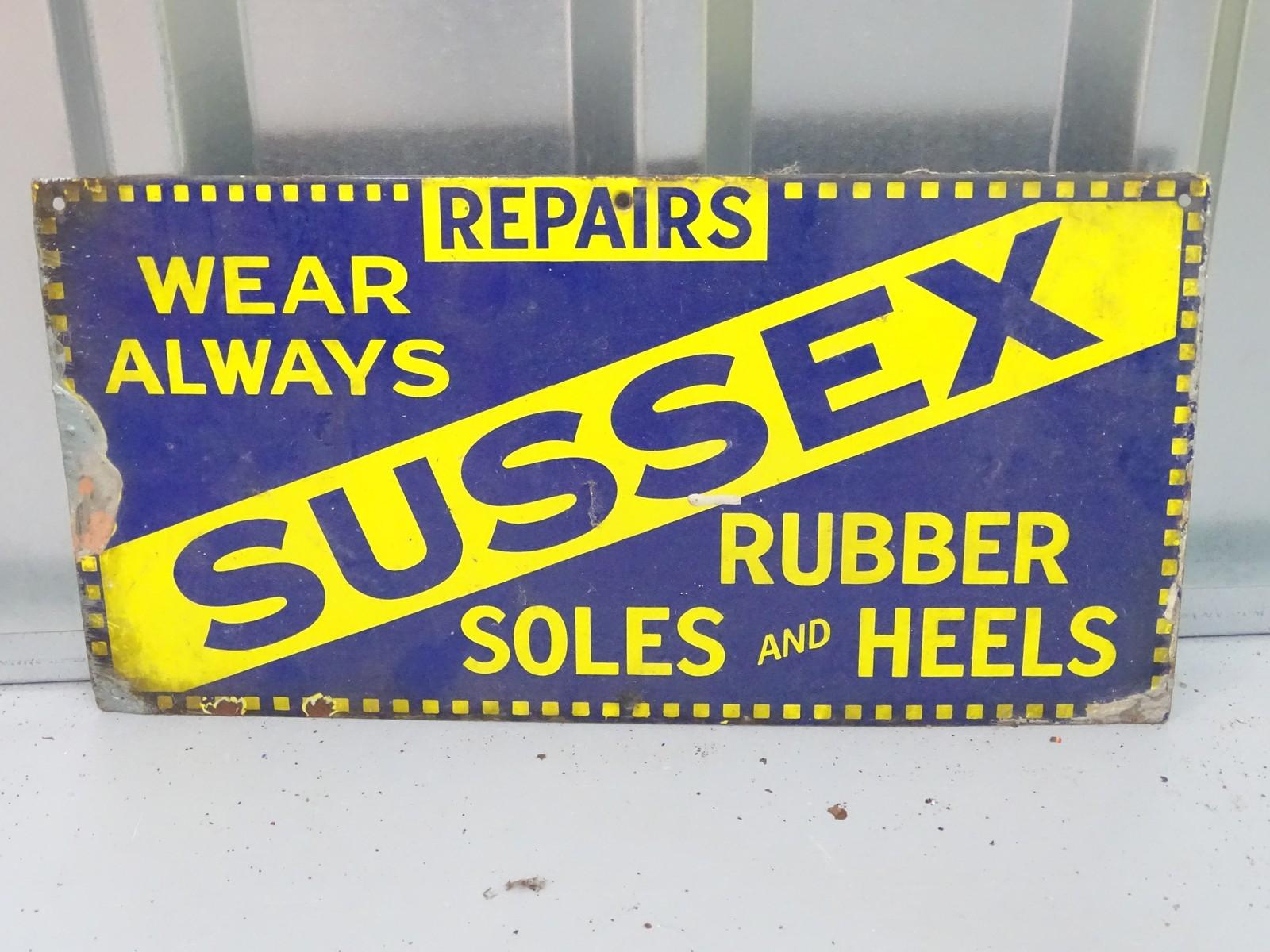 "SUSSEX - shoe repairs (18"" x 9"") - enamel single sided advertising sign"