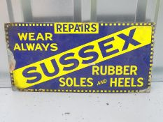 "SUSSEX - shoe repairs (18"" x 9"") - enamel single sided advertising sign"