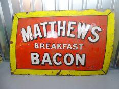 """MATTHEWS BREAKFAST BACON (60"""" x 40"""") - enamel single sided advertising sign"""