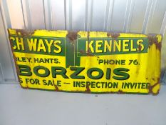 "BORZOIS - DOG KENNELS (59"" x 25"") - half enamel single sided advertising sign"