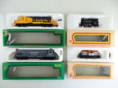 A group of American Outline diesel and steam locomotives by MEHANO - G/VG in G boxes (4)
