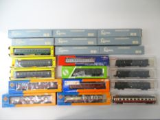 A large quantity of European Outline passenger coaches by LIMA. FLEISCHMANN, ROCO etc together