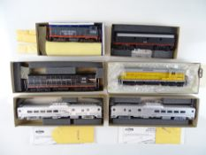 A group of American Outline diesel locomotives and Budd diesel railcars by ATHEARN - G in F/G