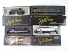 A group of American Outline diesel locomotives together with a Doodlebug gas/electric railcar -