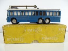 A rare RIVAROSSI MinoBus motorised trolleybus in blue livery - in original box - G/VG in G box