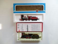 A pair of American Outline 4-4-0 steam locomotives by Rivarossi and Airfix in AT&SF and Central