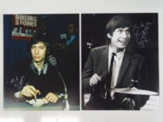 A pair of signed 10x8 photographs (one colour, one black/white) - CHARLIE WATTS - Drummer of The