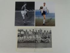 1962 ENGLAND WORLD CUP - A black/white team photograph signed by: BOBBY ROBSON / RONALD FLOWERS /