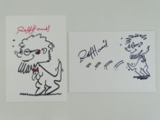 A pair of hand drawn Rolf-A-Roo sketches signed by ROLF HARRIS (2) these have been independently