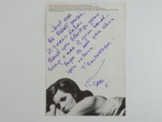 A handwritten and signed note on a paper advertisement for 'The Walking Stick', signed by SAMANTHA