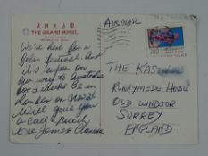 A handwritten and hand signed postcard to the Kastner family from JAMES and CLARISSA MASON - this